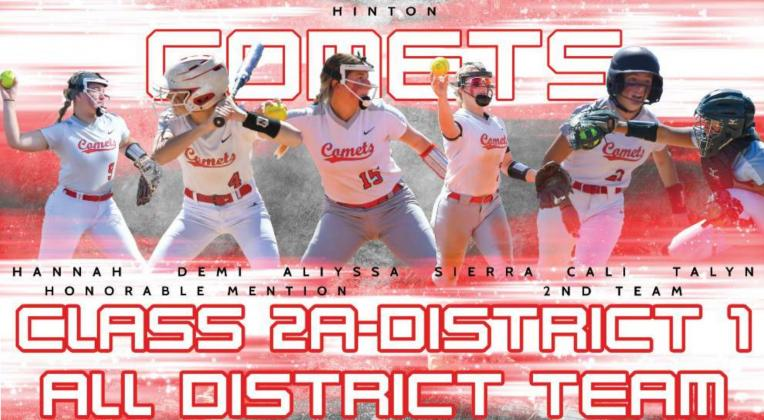Six players from the Comets' fastpitch softball team were named to the Class 2A-District 1 All District Team this week. Sierra Weathers, Talyn Wheeler and Cali Kirchoff were all named to the team while Hannah Deviney, Demi Dahlenburg and Allyssa Gomez were all named Honorable Mention. THOMAS HUCKSOLL/HINTON RECORD