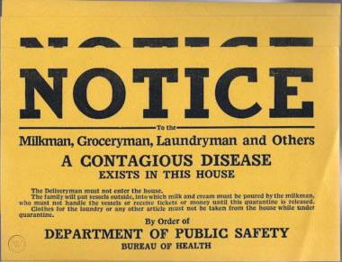 Vintage quarantine notice